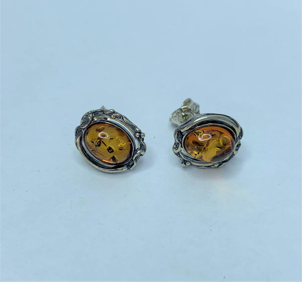 Oval Amber Sterling Silver Studs