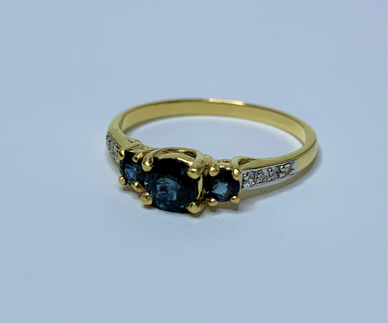 9ct Yellow Gold 3x Sapphires and Diamond Ring