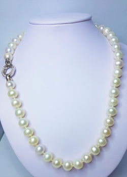Fresh Water Pearl & CZ Necklet with Hexagonal Clasp