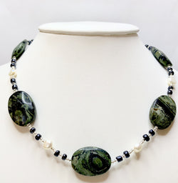 Kambaba Jasper and Pearl Necklace