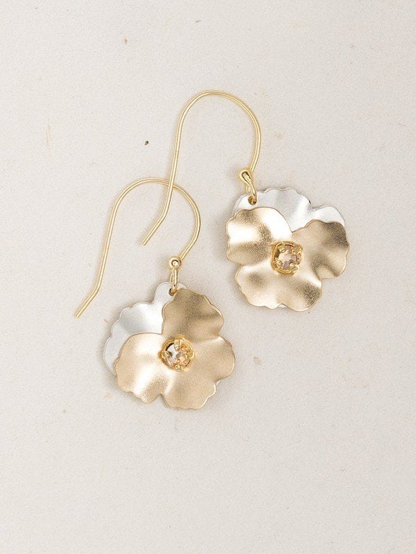 Pansy Gold/Silver Crystal Drop Earrings