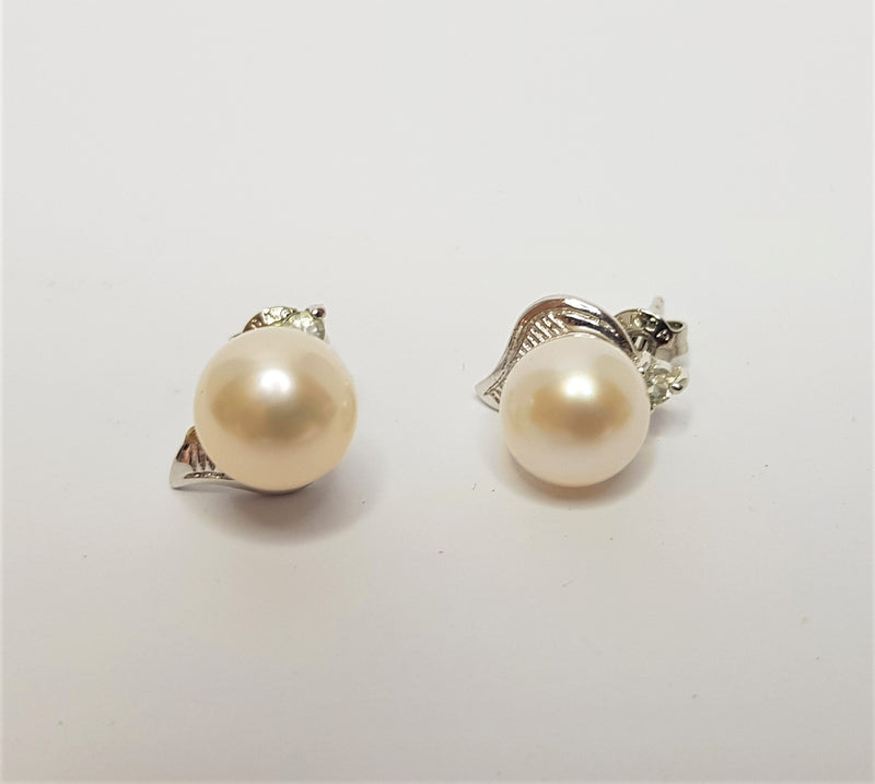 Sterling Silver White Gold Plate Cubic Zirconia And Pearl Studs