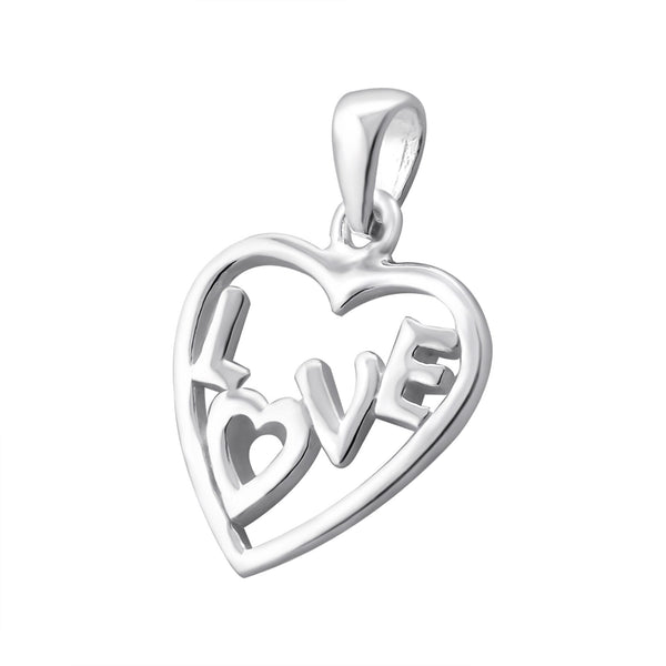 """Love"" Heart Sterling Silver Pendant"