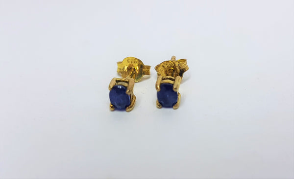 Sterling Silver Sapphire Gold Plated Earrings
