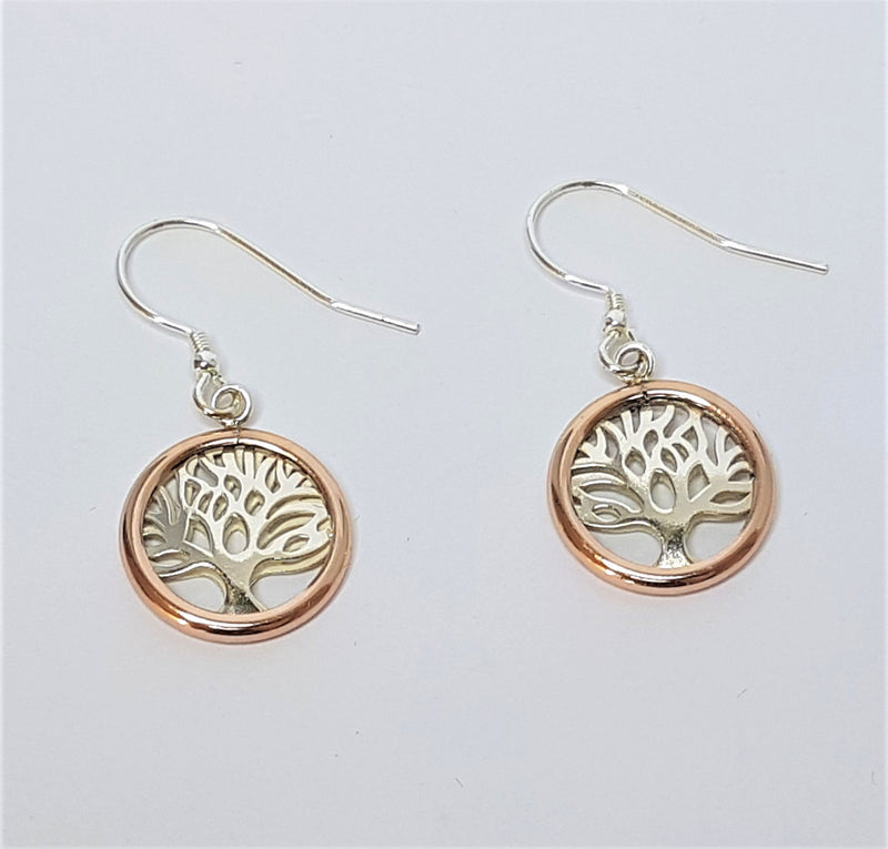 Tree Of Life Sterling Silver Rose Gold Plate Hooks