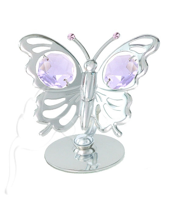 Pink Crystal Mini Butterfly Silver