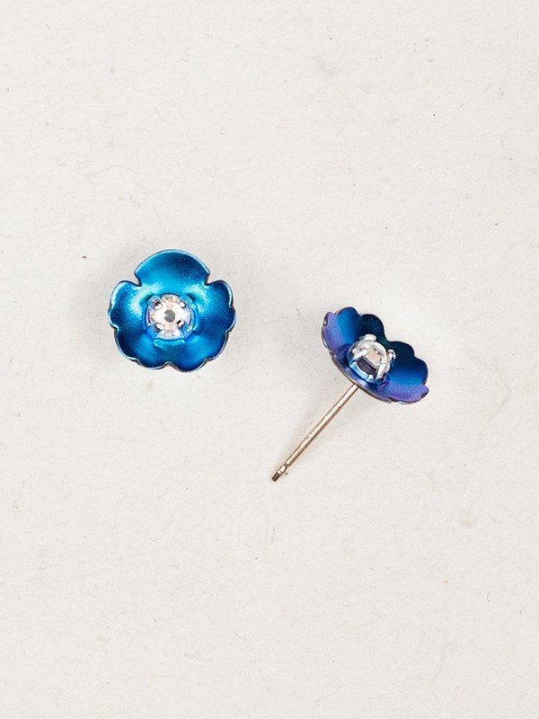 Viola Turquoise Crystral Sterling Silver Studs