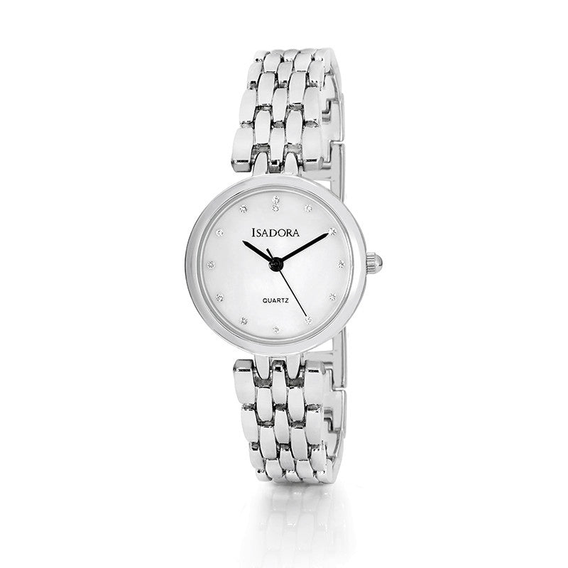 Alora by Isadora Mother of Pearl and Crystal Set Dial with Silvertone Bracelet Watch