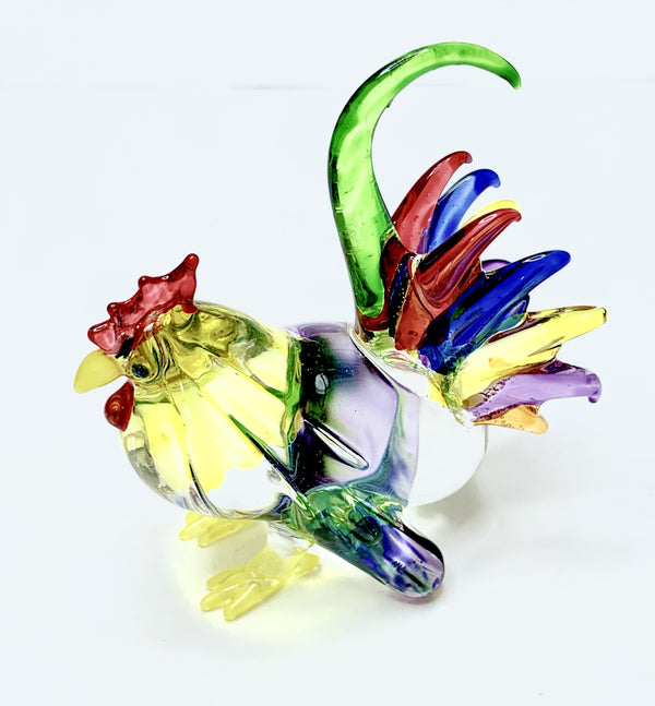 Small Multicoloured Glass Rooster