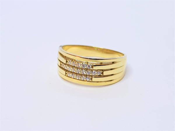 9ct Yellow Gold CZ Band Ring