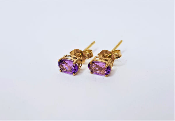 9ct Yellow Gold Oval Amethyst Studs
