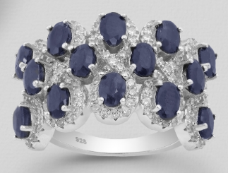Sapphire (14) & CZ Sterling Silver Ring