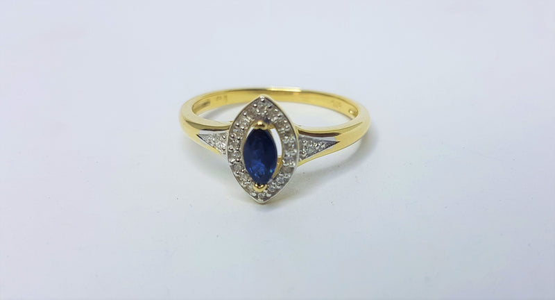 Marquee Sapphire and Diamond Halo 9ct Yellow Gold Ring