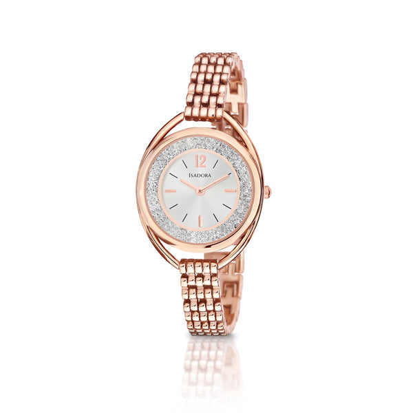 Marbella by Isadora Rosetone Crystal Filled Case with Rosetone Bracelet Watch