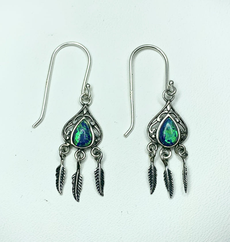 Silver Pear Earrings with Created Opal and feathers