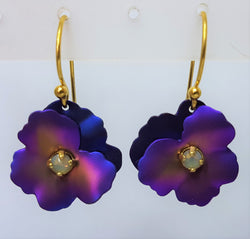 Pansy Gold Purple Crystal Drop Earrings