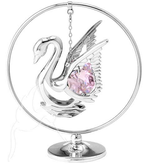 Crystocraft Pink Crystal Mini Swan Silver Mobile