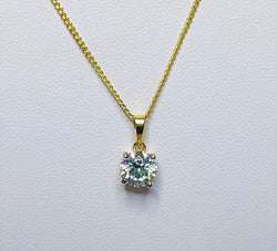 9ct Yellow Gold 7.25mm Round CZ Claw Set Pendant