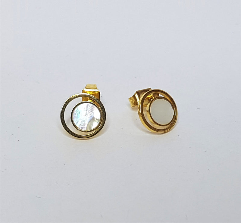 Round Shell in Circle Rose Gold Plate Steel Studs