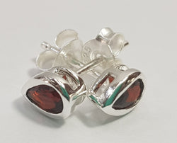 Garnet Pear Cut Bezel Set Sterling Silver Studs