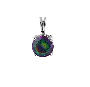 Rainbow Topaz Sterling CZ Silver Pendant