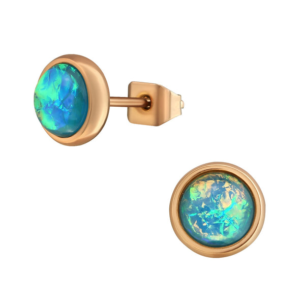 Mint Opal Rose Gold Plate Round Stainless Steel Studs (Syn Opal)