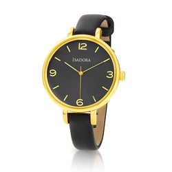 Coin by Isadora Gold Tone Case with Black Fine Leather Strap Watch