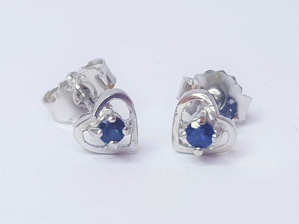 Sapphire Heart Sterling Silver Studs