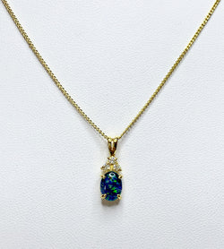 Opal Gold Plated Pendant With 3x Cubic Zirconia