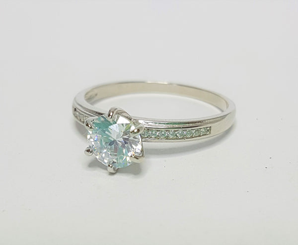 Brilliant CZ with Shoulder Accent CZ Sterling Silver Ring
