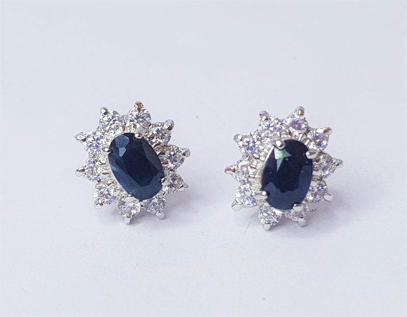 Sapphire and CZ Cluster Sterling Silver Studs