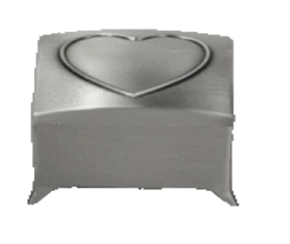 Pewter Jewellery Box with Heart On Lid