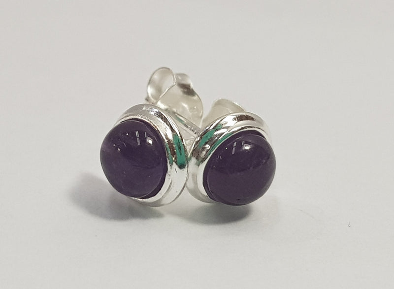Round Cabachon Amethyst Sterling Silver Studs