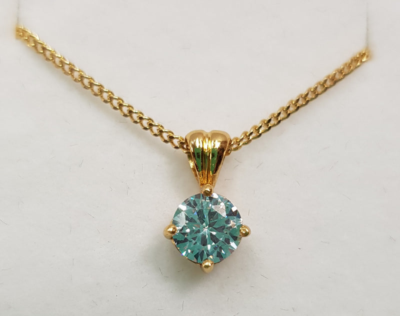 Round CZ Crystal Yellow Gold Plate Silver Pendant
