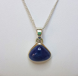 Triangular Sapphire Sterling Silver Pendant