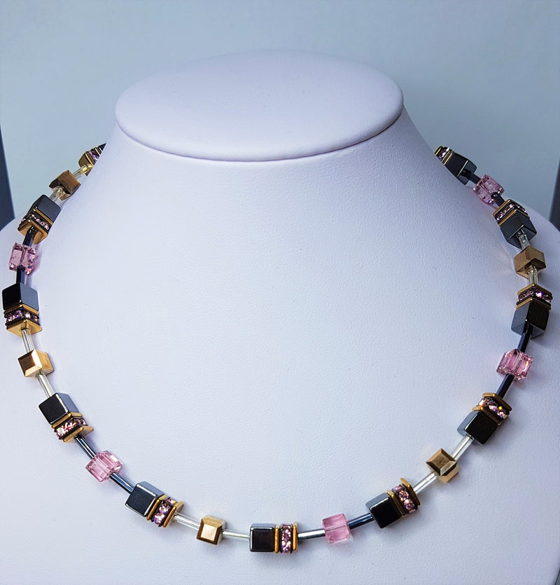 Grey Pink Geo Cube Stainless Steel Rhinestone Glass Synthetic Tigers Eye Polaris Haematite Swarovski Crystal Necklace