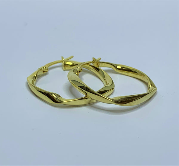 Squared Twist 9ct Yellow Gold Silver Filled Hoops
