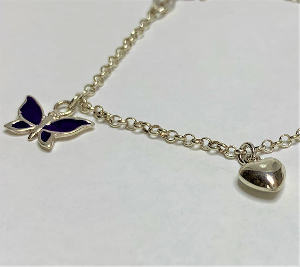 Sterling Silver Butterfly And Flower Charm Bracelet