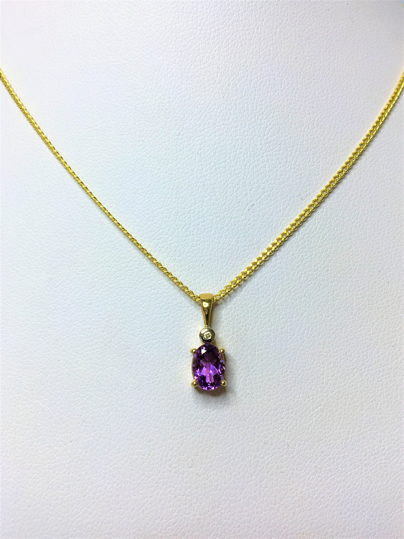 9ct Yellow Gold Oval Amethyst and Diamond Pendant