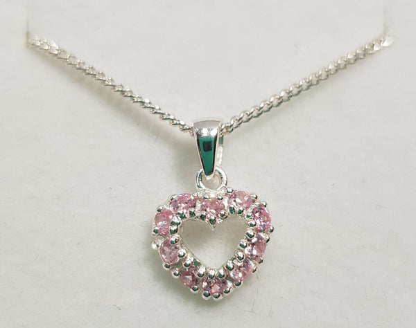 CZ Pink Heart Sterling Silver Pendant