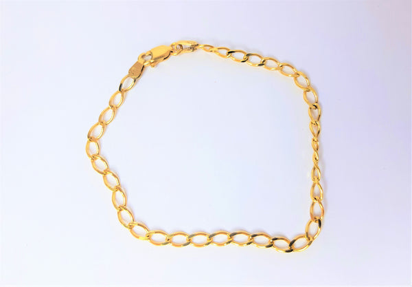 9ct Yellow Gold Oval Curb Diamond Cut Bracelet