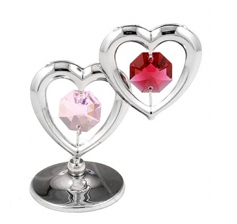 Crystocraft Silver Crystal Twin Hearts