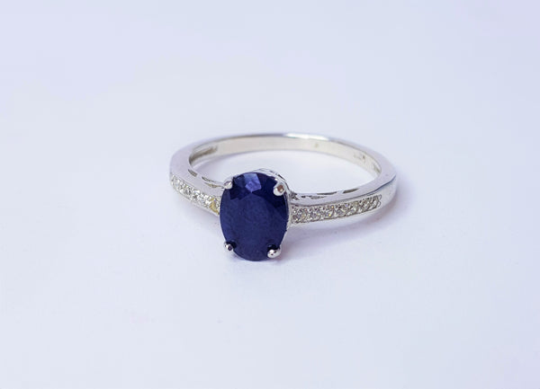 Oval Sapphire and CZ Shoulders Sterling Silver Ring