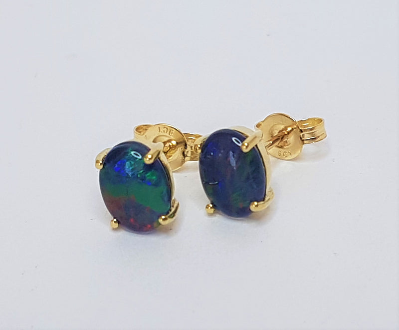 9ct Yellow Gold Oval Opal Claw Studs
