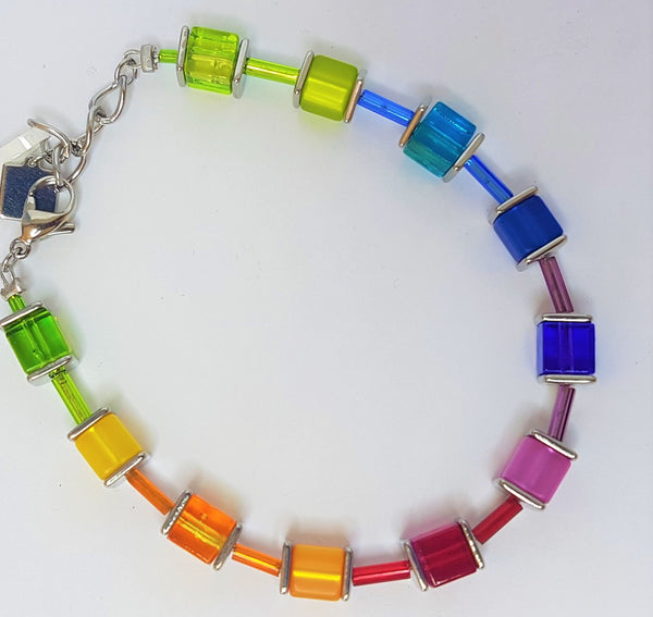 Rainbow Geocube Glass Swarovski Pink Blue Orange Bracelet
