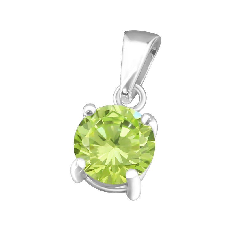 August GreenCubic Zirconia Claw Set Sterling Silver Pendant
