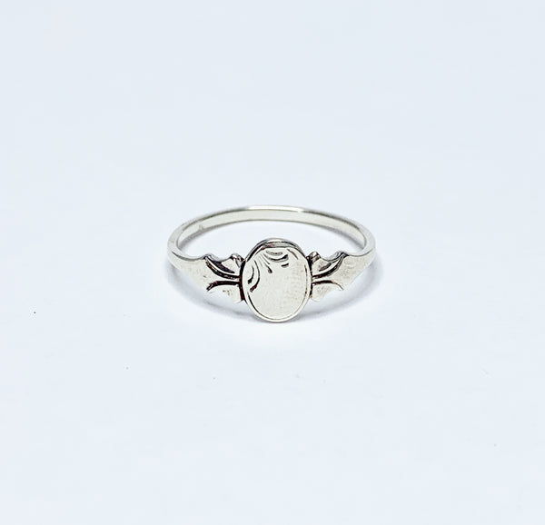 Sterling Silver Oval Pink Signet Ring