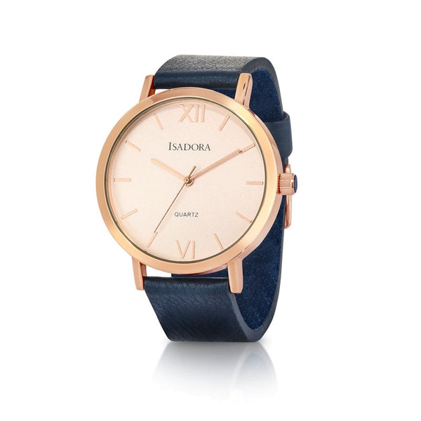 Merida by Isadora Rose Roman Accent Dial with Navy Soft Leather Strap Watch