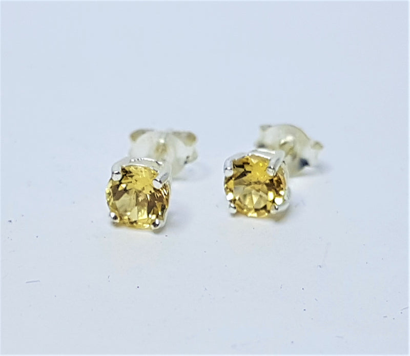 5mm Citrine Round Sterling Silver Studs