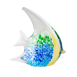 Coloured Glass Angel Fish - Blue Green and Yellow